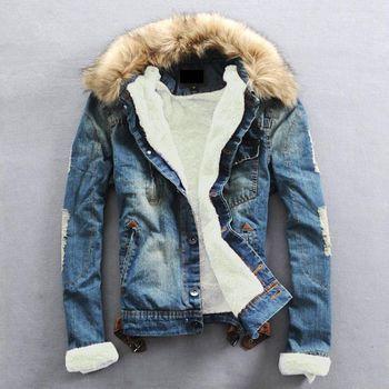 Плюс Размеры 2017 теплая зимняя джинсовая куртка Для мужчин Костюмы Джинсы для женщин пальто Для мужчин повседневная верхняя одежда с мехово...
