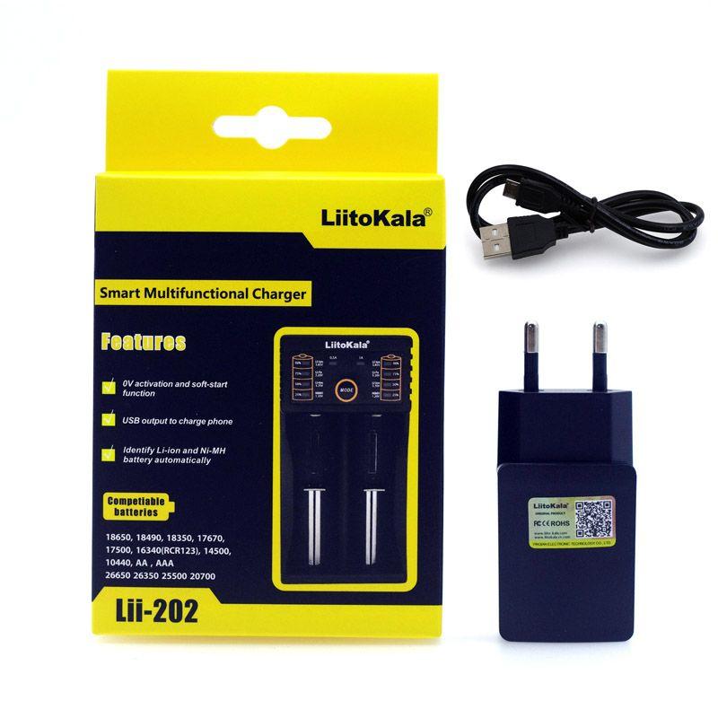 2017 Liitokala Lii402 Lii202 Lii100 18650 Ladegerät 1,2 V 3,7 V 3,2 V AA/AAA NiMH li-ionen-akku Smart Ladegerät 5 V 2A EU/US/UK stecker