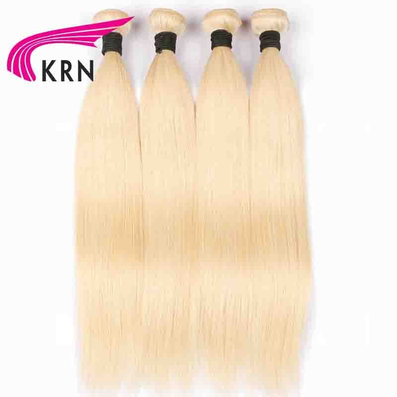 KRN #613 Brazilian Straight Hair Bundles Pure Blond Remy Hair Extension 100% Human Hair Bundles 4 Pieces Fast Shipping Full End