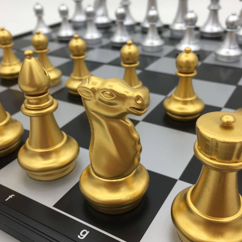 Classic Folding Magnetic Chess Golden & Silver Pieces Board Size 36 cm x 36 cm king 8.1 cm Large Chess Set Outdoor Travel Games