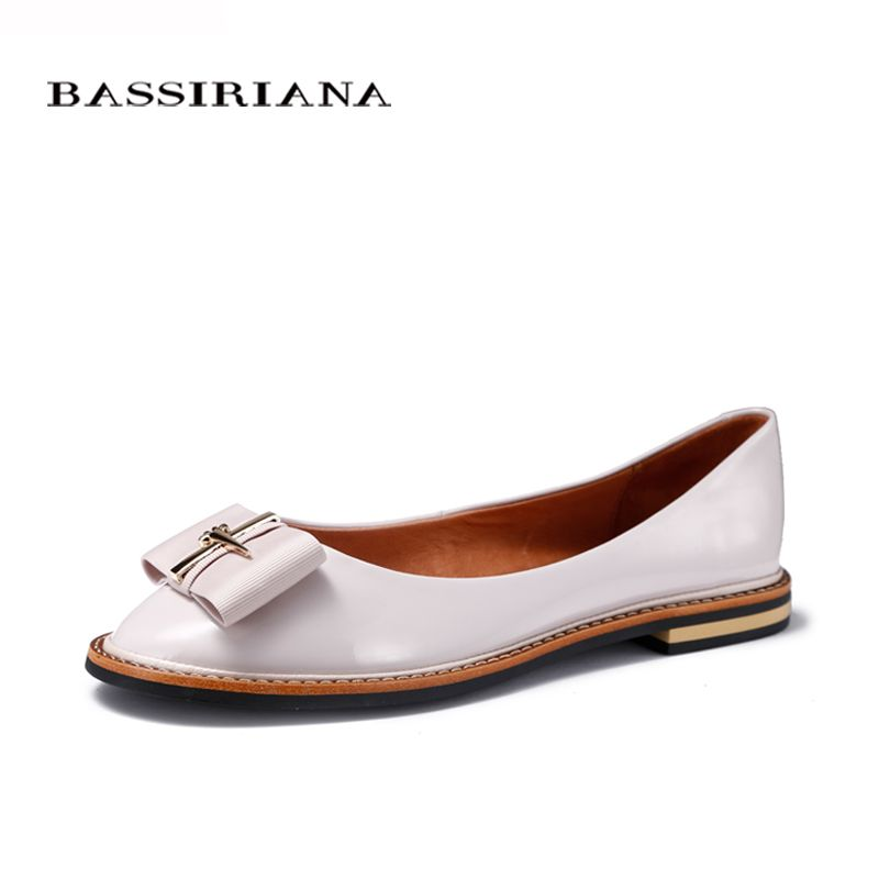 BASSIRIANA 2017 Shoes Woman Genuine Leather Flats Ladies Shoes High <font><b>Quality</b></font> Shoes For Women Top Casual Work Loafers Shoes