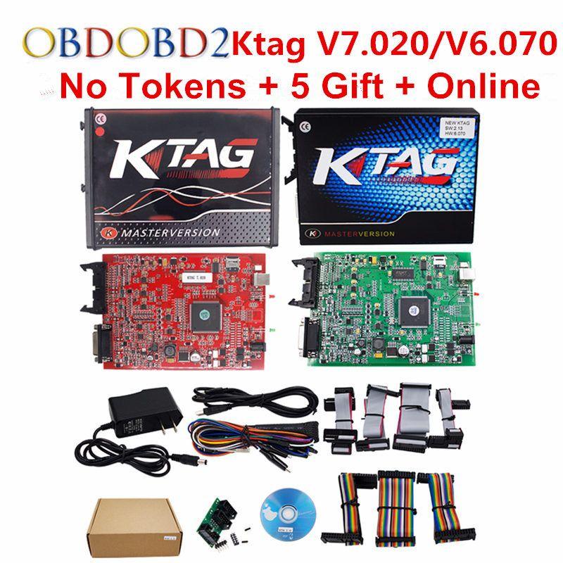 K-TAG V7.020 KTAG V2.23/K TAG V6.070 ECU Chip Tuning Tool Red KESS V5.017 V2.47 OBD2 ECU Programmer Unlock Limit Master Version