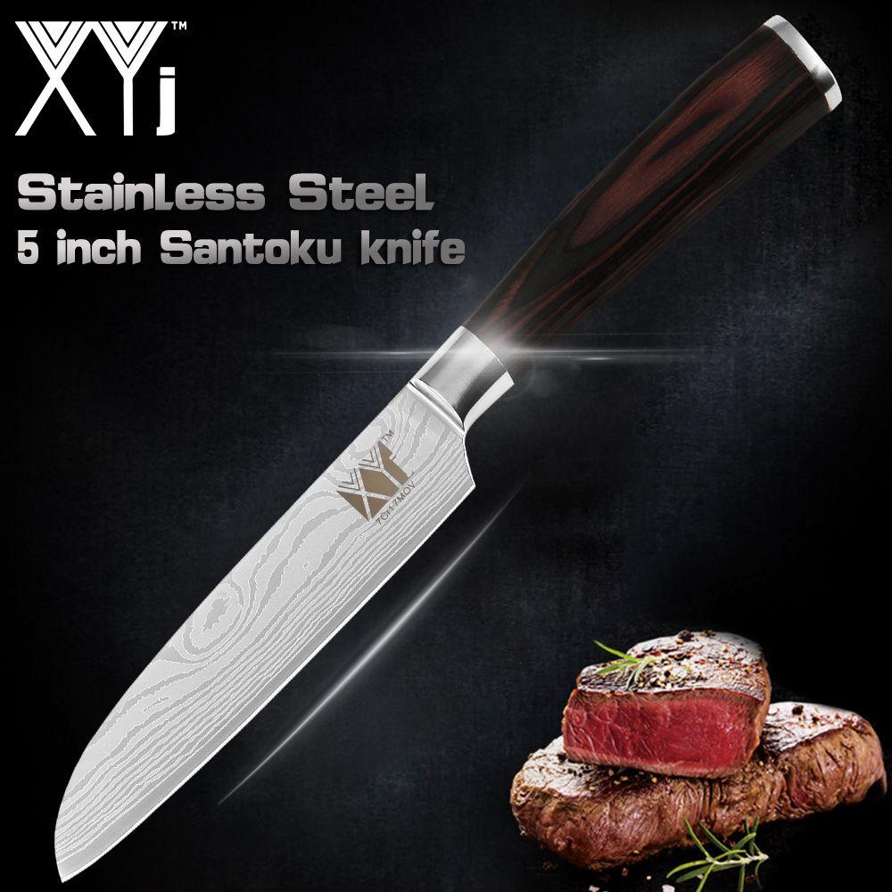 XYj Damas Veines Cuisine couteau de cuisine Outils Accessoires 5 pouces Japonais de Cuire Couteau 7CR17 acier inoxydable couteau santoku