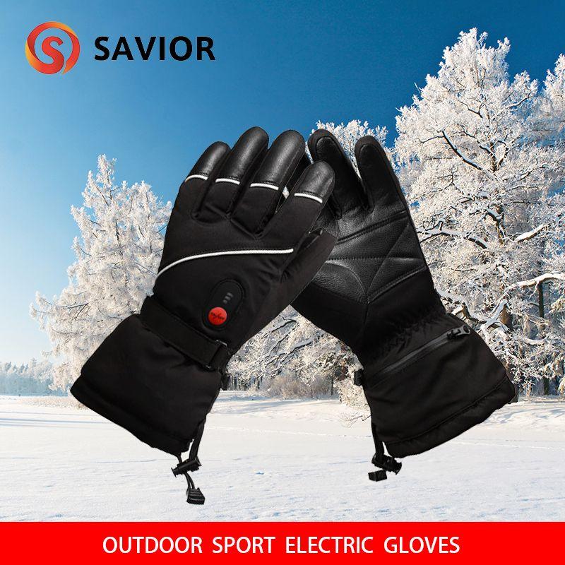 RETTER S-15 winter Elektrische Heizung Handschuhe Winter Skifahren, angeln outdoor sport leder handschuhe männer frauen extra batterie avialible