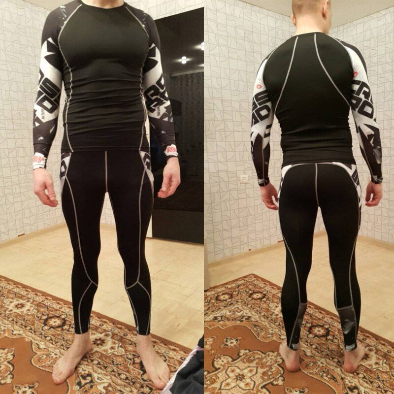 mma rashgard long sleeve thermal knitwear Set Tights Men's compression shirt  crossfit  Fitness thermal underwear pantalo