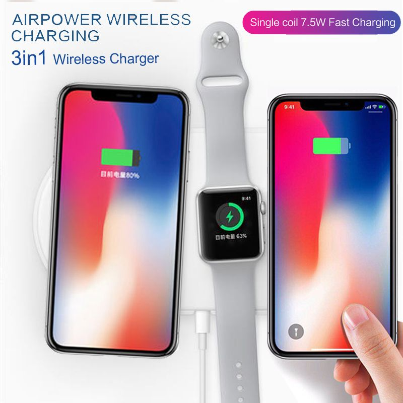 NEW charger For apple Watch 2 3 Airpower QI Wireless Charger For iPhone X 8 plus Galaxy S8 plus S6 S7 s9 edge Fast Charging Pad
