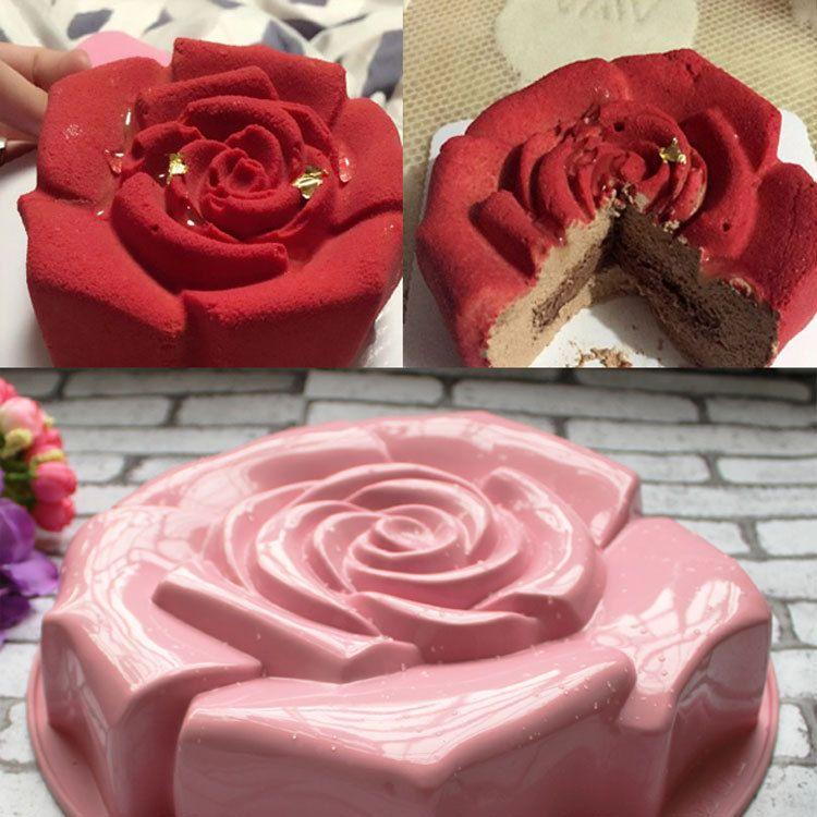Différents Couleur Haute Qualité Rose Forme Silicone Gâteau Moule Pouding Au Chocolat Moule Cuisine BRICOLAGE Gâteau Plat De Cuisson Gâteau Outils CT179