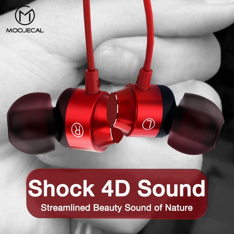 MOOJECAL 3.5mm Jack In-ear Earphone Wired Super Bass Sound Earbud with Mic for Mobile Phone Samsung Xiaomi MP3 fone de ouvido