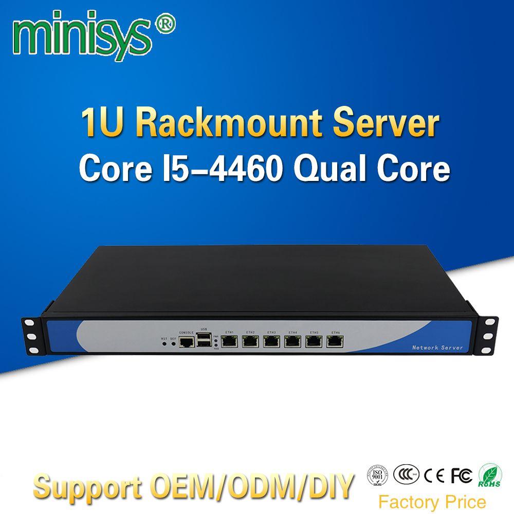 Minisys 1U Rack Firewall Cloud Computer Netzwerk Server Intel i5 4460 Quad Core 6 Lan Aluminium Fall Pfsense Router Unterstützung 2 * SFP