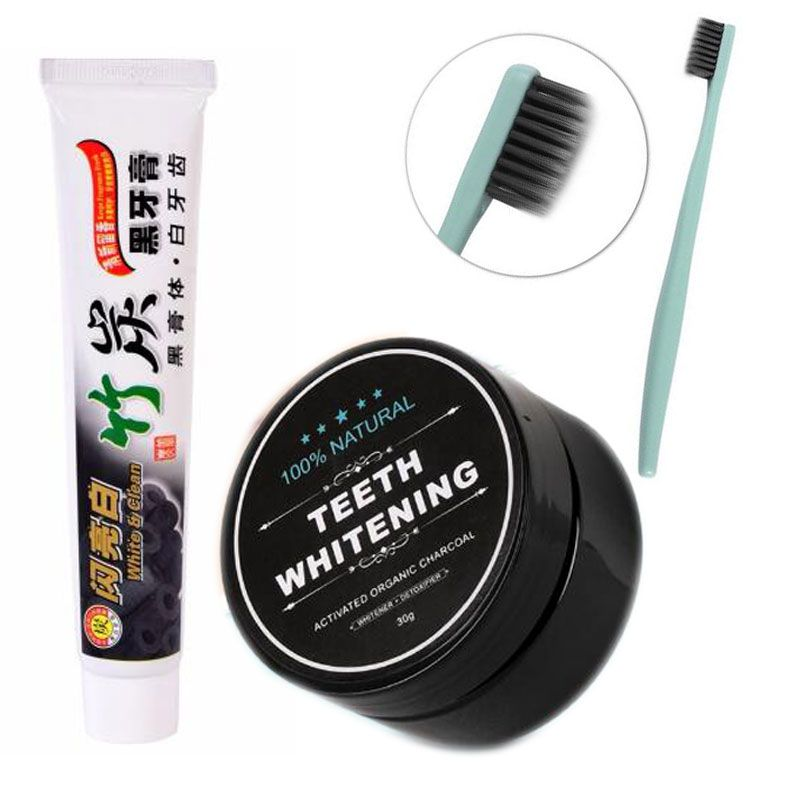3pcs/set Bamboo Toothpaste Charcoal Ultra Soft Toothbrush Daily Use Teeth Whitening Bamboo Charcoal Powder