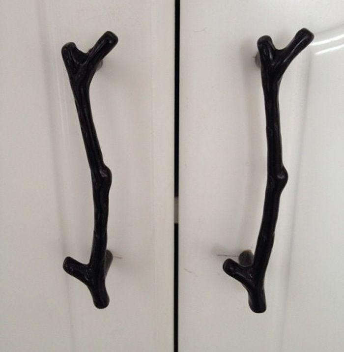 2PCS 96mm Retro Black twig cupboard door handle, kitchen cabinets pulls, Tree branch drawer Dresser pulls closet knobs