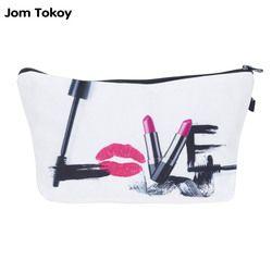 Jom Tokoy Mode Marque cosmétique organisateur sac 3D Impression Femmes Voyage Trousse De Maquillage Portable Cosmétique Sacs