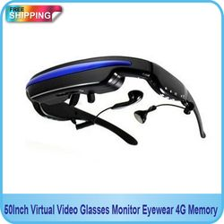 Free shipping!! 50Inch Virtual Video Glasses Monitor Eyewear Private Theater 4G Memory