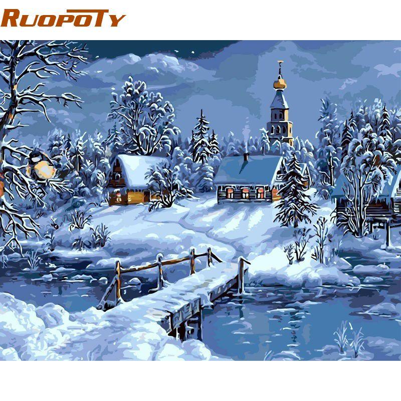 RUOPOTY Frmae noël neige paysage peinture à la main par numéros peint à la main toile peinture Unique pour noël décor 40x50 cm