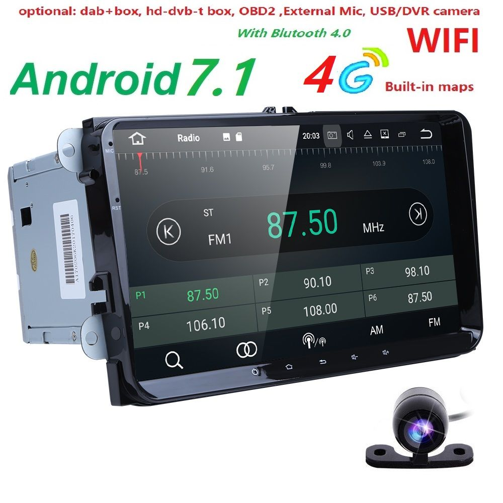 2 Din 9 inch Quad core Android 7.1 car dvd GPS for VW Polo Jetta Tiguan passat b6 cc fabia mirror link 4G wifi Radio BT in dash