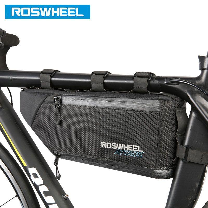 ROSWHEEL Fahrrad Tasche Wasser Bike Rahmen Ecke Rohr Triangle Pouch Fahrrad Radfahren Taschen Zubehör 4L Volumen Erweiterbar 121371
