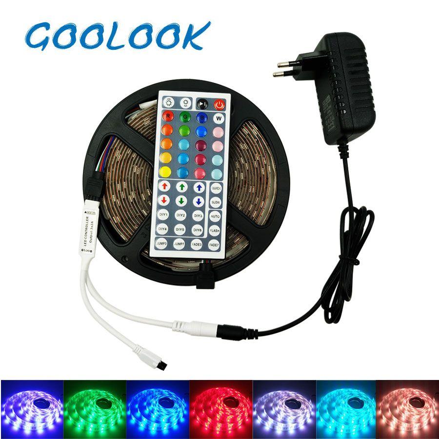 LED Strip Light RGB 5050 SMD  Waterproof RGB LED Light Tape  emitting diode Tape  LED Lamp Ribbon RGB Strip Controller Full Set