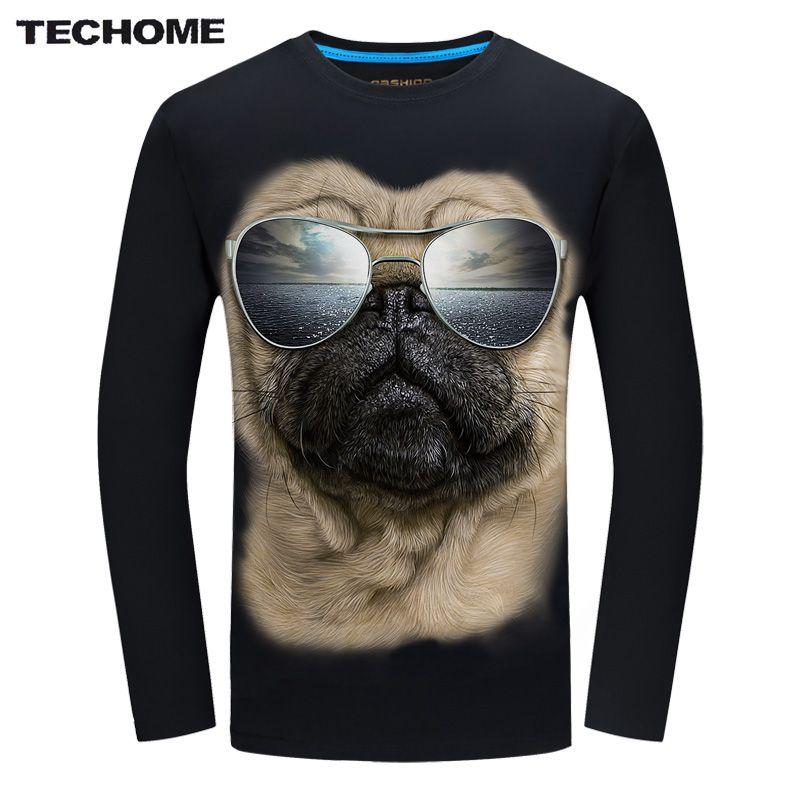 TECHOME 2017 Fashion Brand Men's T shirt 3D Glasses Dog Print T shirt Summer Long Sleeve Shirts Tops M~6XL Big Size Cotton Tees