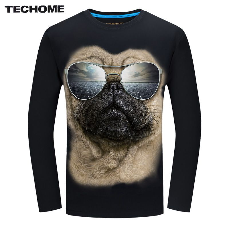 TECHOME 2017 Fashion Brand hombres de la camiseta 3D Gafas de Perro de Impresión camiseta de Verano Camisetas de Manga Larga Tops M ~ 6XL Tamaño Grande de Algodón Tees