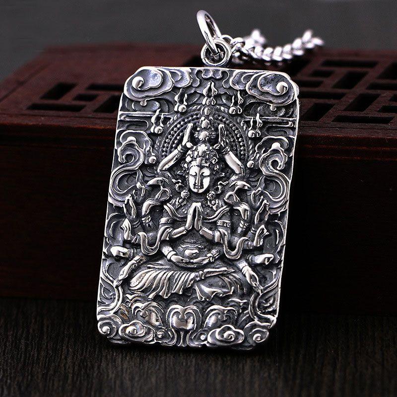 Тысячи богини милосердия серебряное ожерелье Будды Лаки амулет молитва мужчин буддизм тибетский