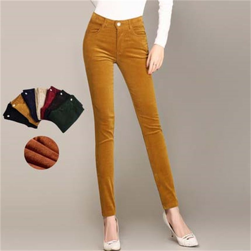 2018 Spring Fashion Velvet High waist casual pants corduroy pants trousers straight trousers stretch Slim large size 28-38