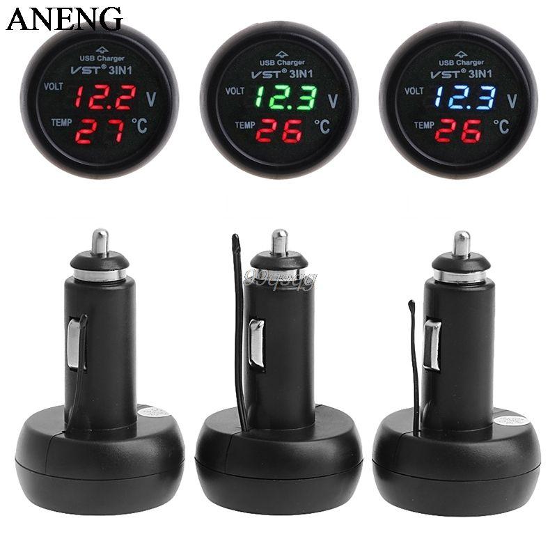 3in1 Auto Digital LED Thermometer USB Car Charger Cigarette Voltmeter Meter 12V/24V Drop shipping