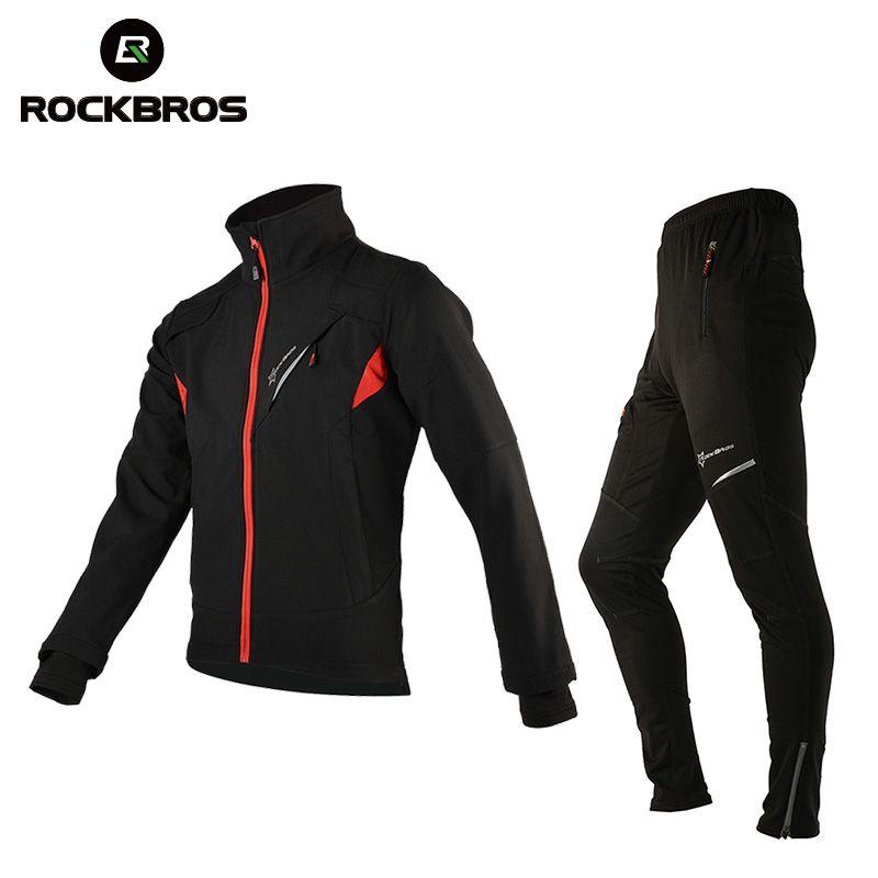 ROCKBROS Winter Fleece Cycling Sets Bicycle Thermal Jacket Men's Bike Trousers Cycling Bike Bicycle Clothing Sportswear
