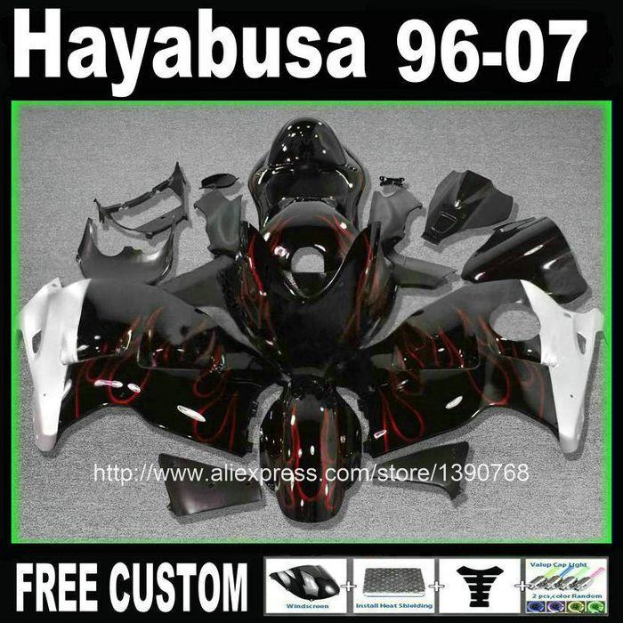 ABS plastic fairing kit + tank for SUZUKI hayabusa fairings GSXR1300 99-07 red flames in black custom set 1996-2007 CQ25