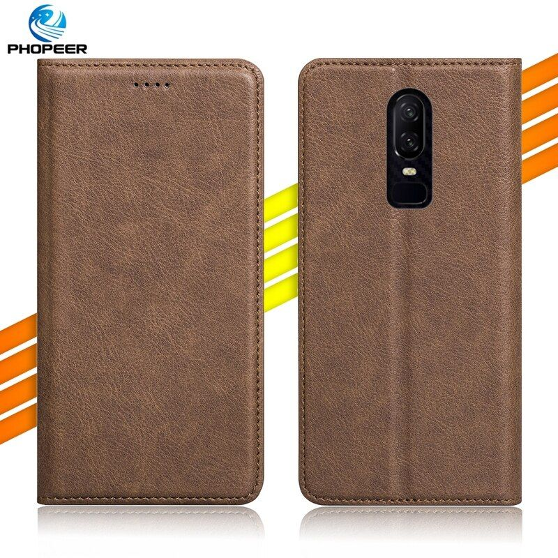 Original PHOPEER Flip PU Leather Case For OnePlus 6 Oneplus6 6.28 inch Vintage Full Protection Leather Case For OnePlus 6