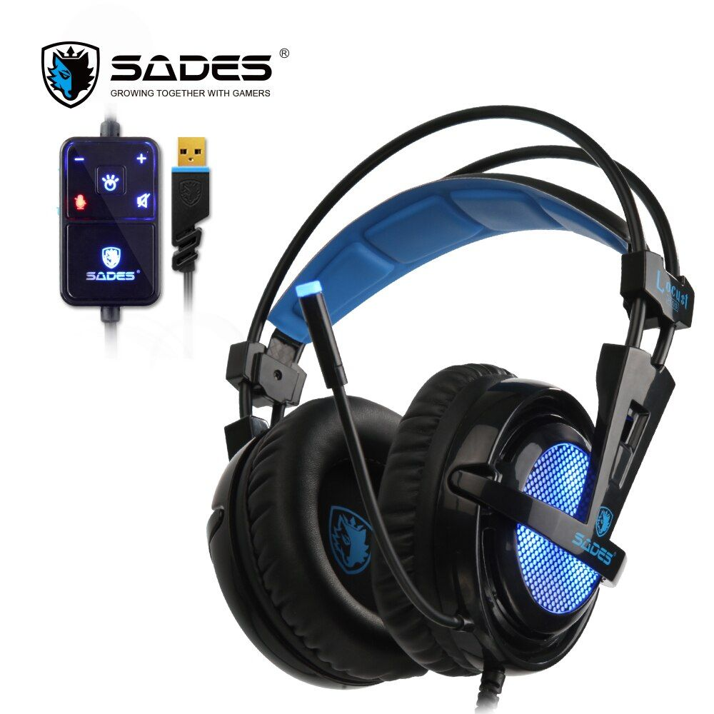 SADES Locust Plus 7.1 Surround <font><b>Sound</b></font> Headphones soft-leather earmuffs Gaming Headset elastic suspension headband Earphones