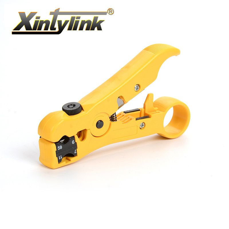 xintylink network hand tool pliers knife flat round line utp rj45 cat5 cat6 wire coax coaxial stripping cable stripper cutter