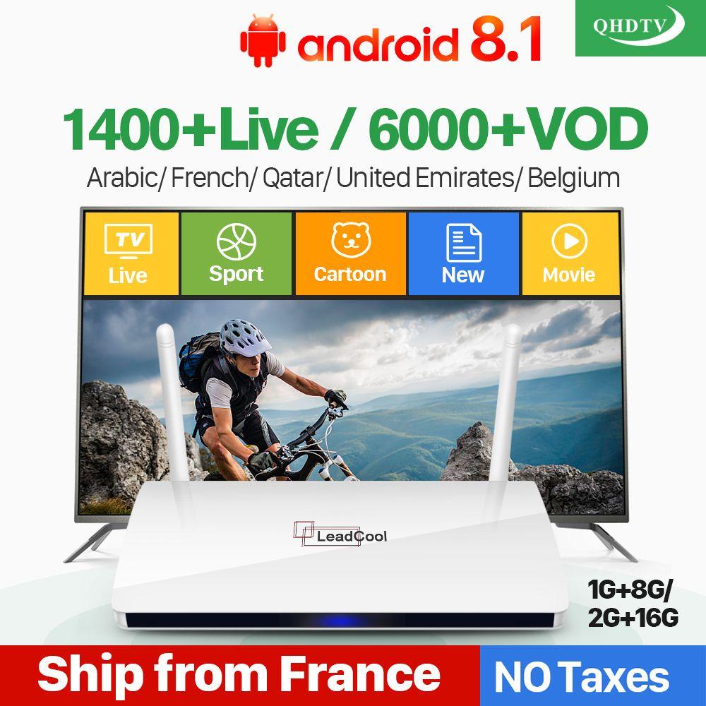 Leadcool IPTV France Box Android français arabe IPTV Rk3229 Leadcool QHDTV abonnement 1 an belgique néerlandais arabe France IPTV