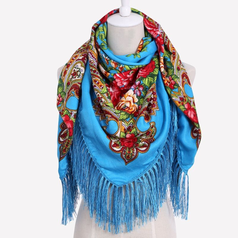 HOT Sale Russian Brand New Fashion Big Size Square Scarf Cotton Long Tassel Print Scarf in Spring Winter Shawl For Women floural