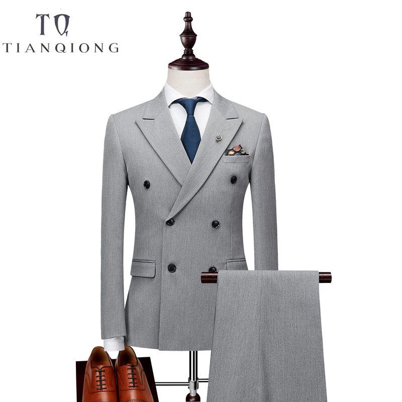 Doppel Breasted Neuesten Mantel-Hose Designs Anzug Männer Slim Fit Hochzeit Anzüge für Männer Reinem Schwarz Licht Grau Smoking Jacke + hosen + Weste