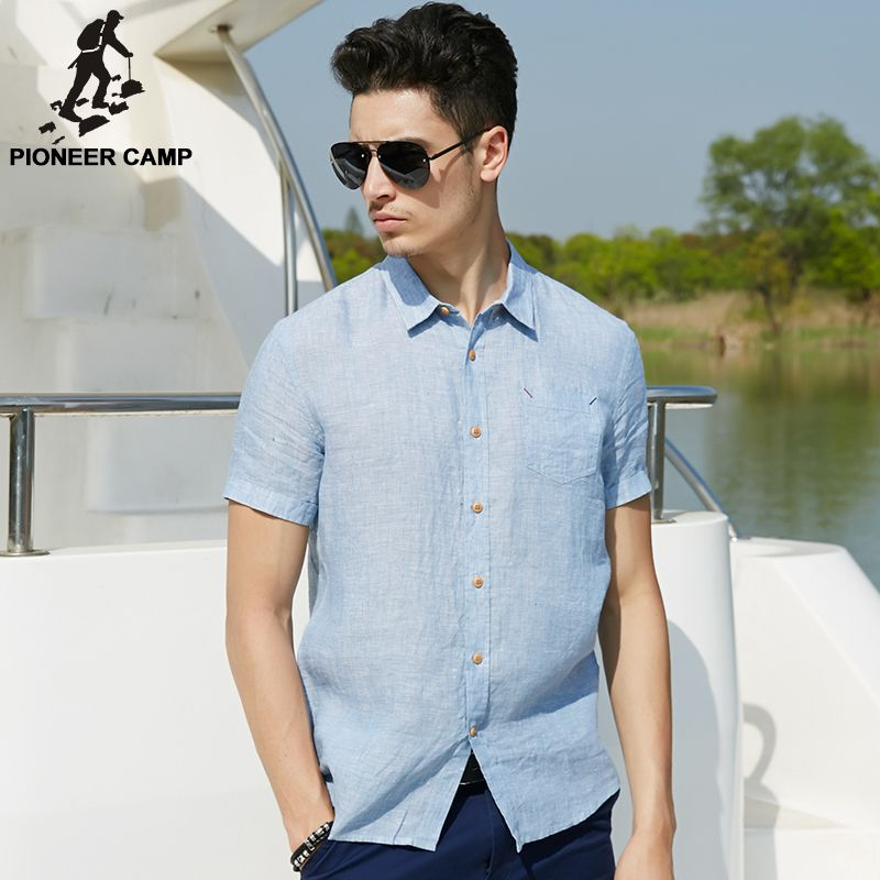 Pioneer Camp 2017 new summer men linen shirt casual men's shirt short sleeve thin breathable slim blue shirts men clothes 666212