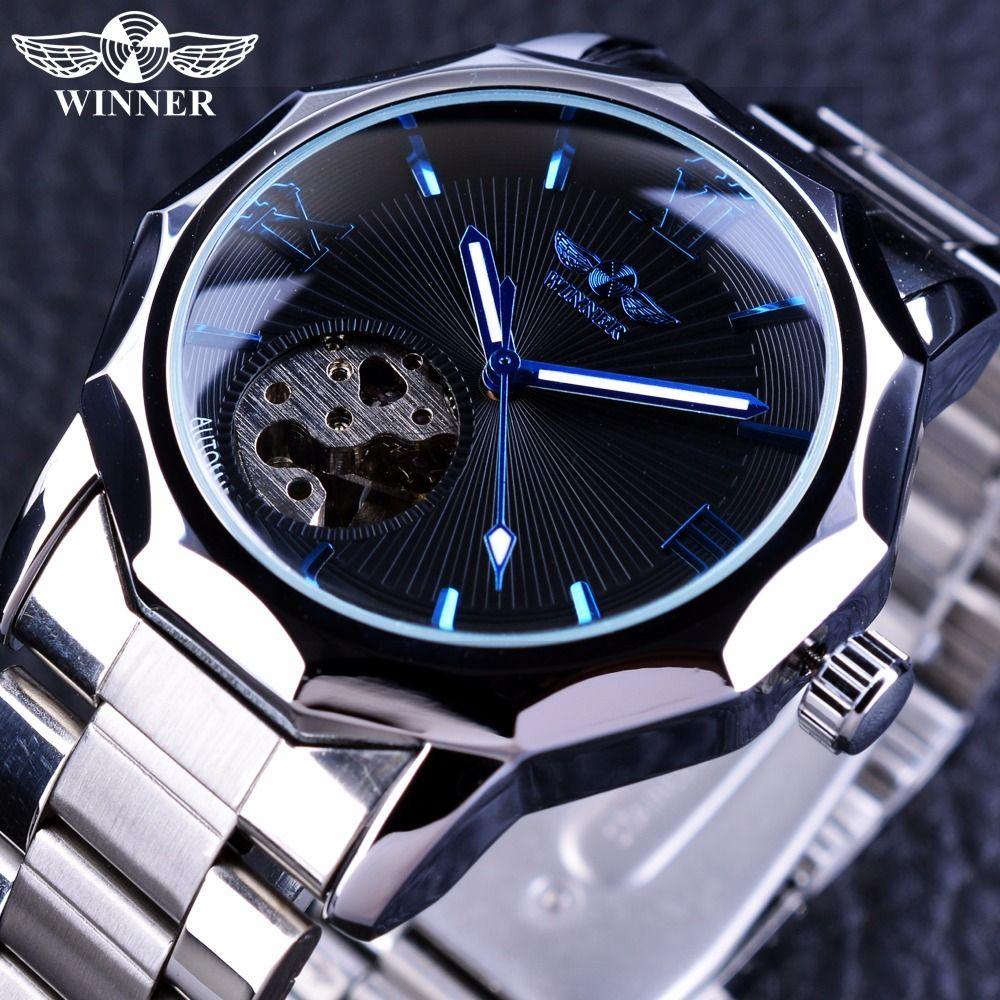 Ganador Del Océano Azul Geometría Diseño Pequeño Dial Esqueleto de Lujo del Acero Inoxidable Para Hombre Relojes de Primeras Marcas de Lujo Del Reloj Automático