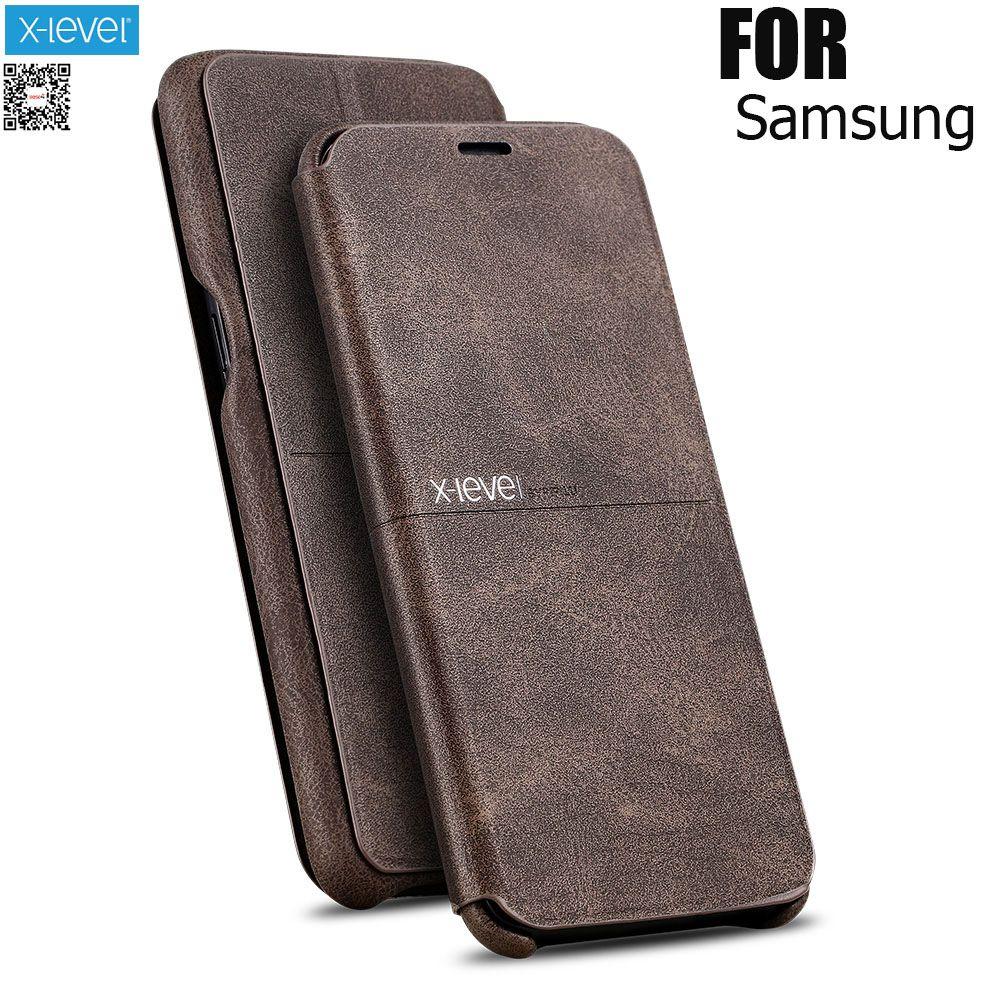 X-Niveau Extrême Flip Étui En Cuir Pour Samsung S6 S7 bord S8 S9 P Note8 Niveau Rétro Vintage Livre Portefeuille Sac Couverture Pour la note 5 7