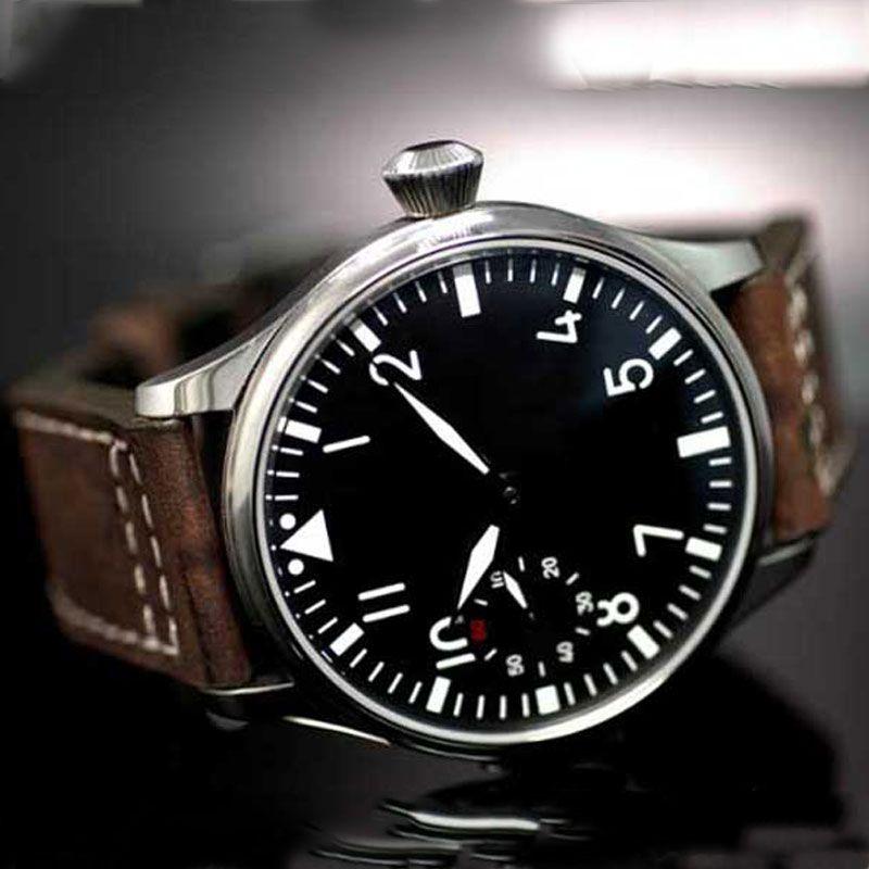 Free Shipping 44mm classic black <font><b>dial</b></font> parnis luminous makrs asia 6497 movement Mechanical Watches hand winding mens watch PA01