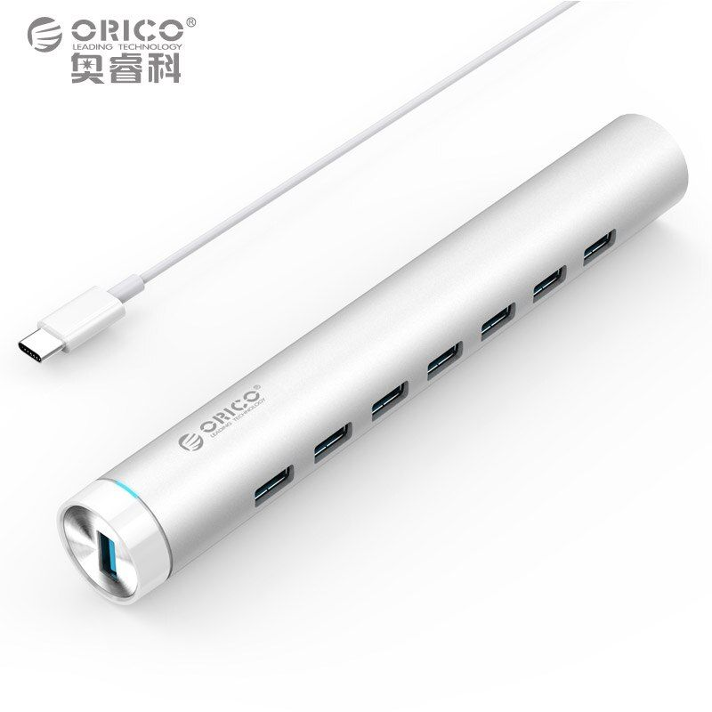 ORICO Super Speed HUB Aluminum Round 7 Ports USB3.0 5Gbps HUB Splitter for phone Laptop Peripherals Usb Power Adapter MAC Silver