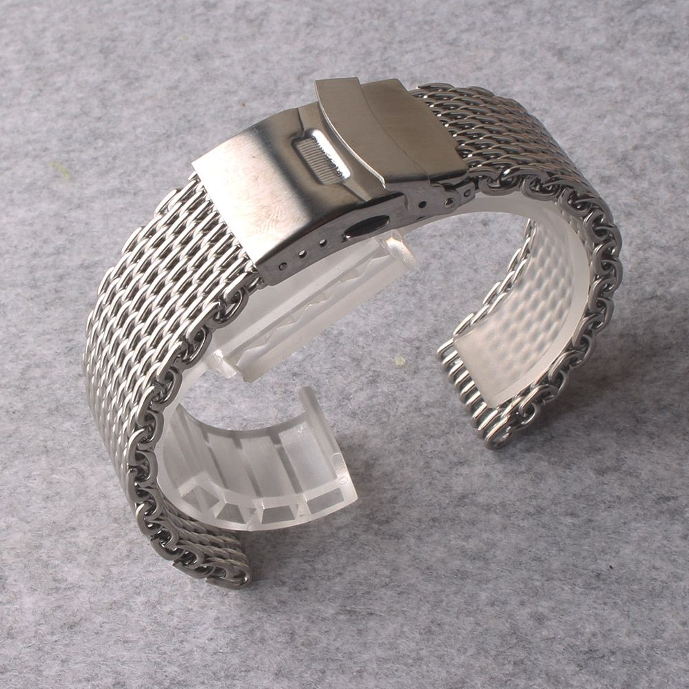 High Quality Watchbands 20mm 22mm Strap Band Safety Deployment buckle special ends shark Mesh silver metal watchband promotion