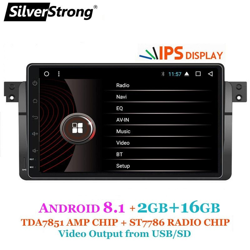 SilverStrong IPS Display Android8.1 Car Radio 9inch for BMW E46 M3 3Series 1DIN Radio 318 320 328 With RDS DAB Option