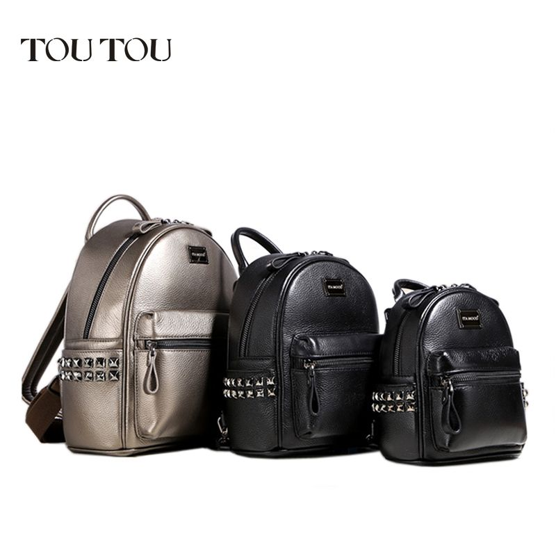 A1601 TOUTOU brand designer Mini rivet backpack pu leather backpack female Small bags famale college schoolbag sac de marque