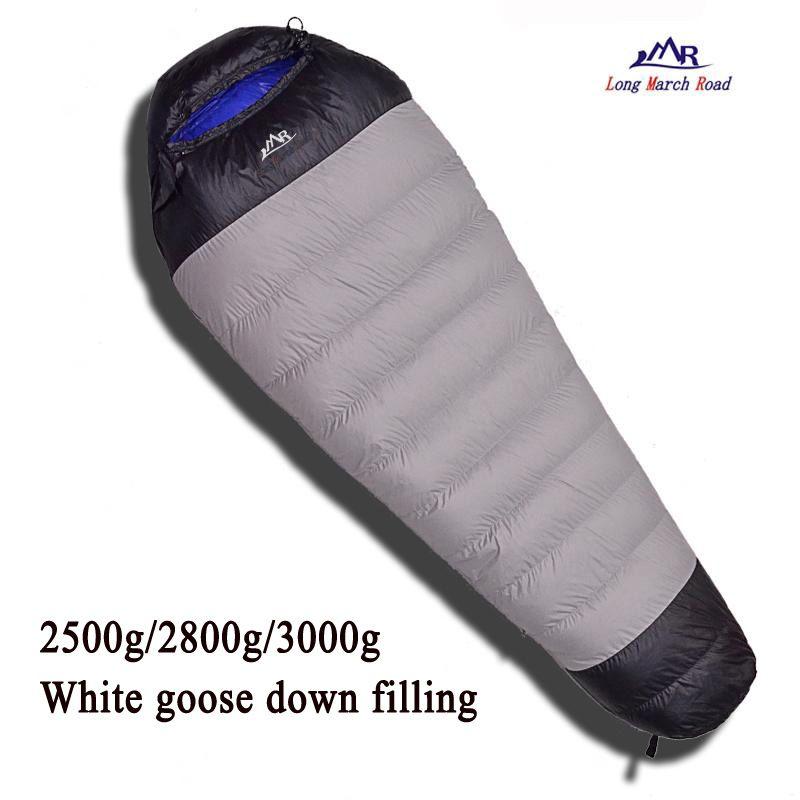 LMR ultraleicht komfortable gänsedaunen füllung 2500g/2800g/3000g unten können gespleißt werden camping schlafen tasche