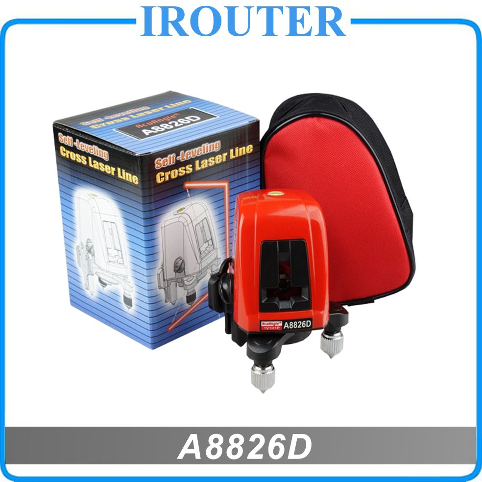 A8826D 360degree self- leveling <font><b>Cross</b></font> Laser Level 1V1H Red 2 line 1 point HOT SALE