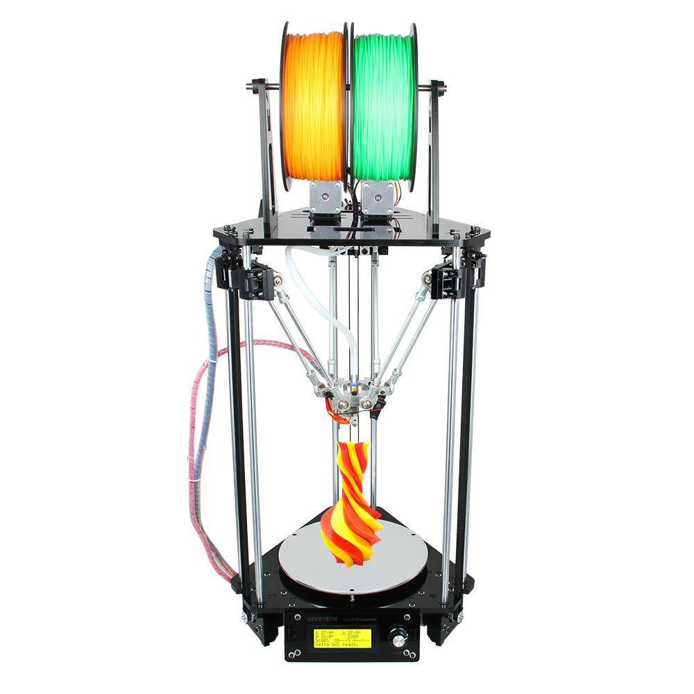 Geeetech imprimante 3D double têtes Rostock Mini G2S Delta Kits de nivellement automatique mis à niveau tout métal haute résolution Impressora