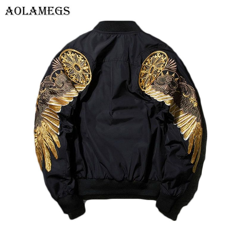 Aolamegs Mens Autumn Jacket Embroidery Gold Eagle Wings Stand Collar Bomber Jacket Fashion Outwear Men's Coat Bomb Brand New