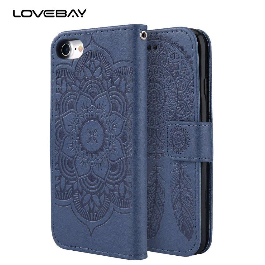 Lovebay De Luxe Portefeuille En Cuir Téléphone Cas Pour iPhone 7 6 6 S Plus 5 5S SE Mandala Fleur Cas Poche Fente Pour Carte Couverture de Stand Coque