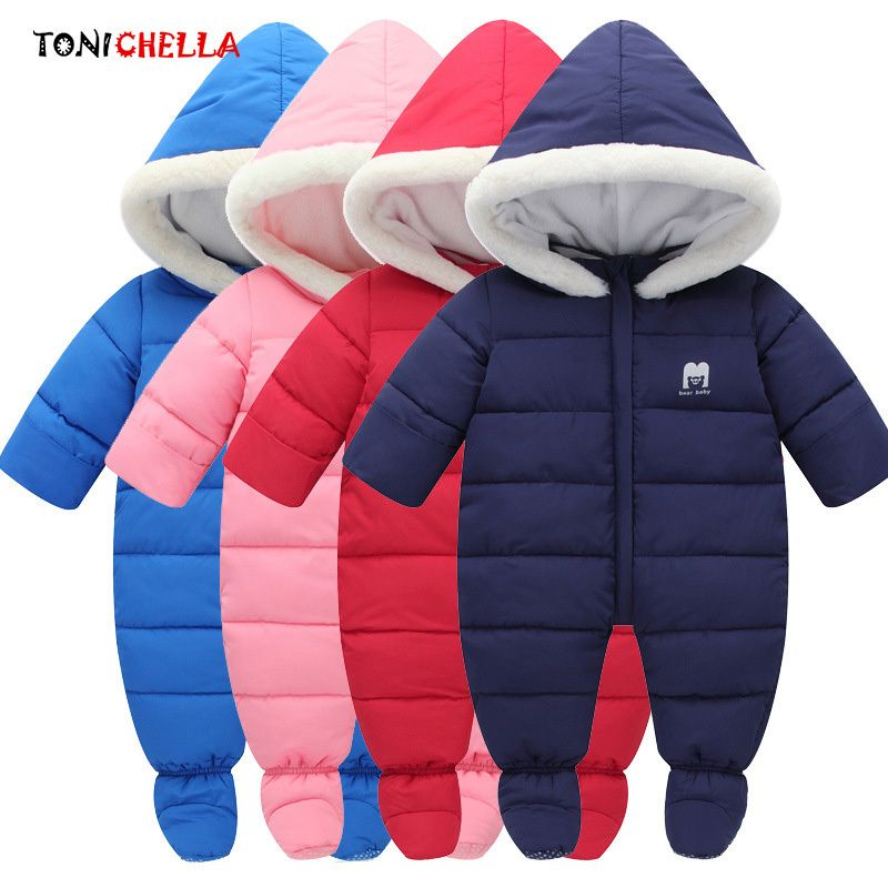 Baby Rompers Thick Warm Hooded Climbing Clothes Winter Newborns Infant Jumpsuit Boys Girls Outdoor Necessary Clothing CL5064