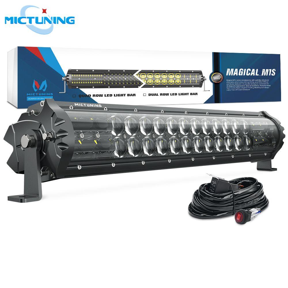 MICTUNING Verbesserte M1s 19 ''Aerodynamische LED Arbeit Licht Bar 9720LM Off Road Weiß Driving Combo Spot Flut Lampe w /Kabelbaum