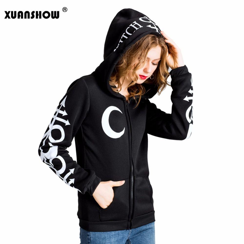 XUANSHOW 2018 Women Hoodies Clothes Gothic Punk Moon Letters Printed Sweatshirts Winter <font><b>Autumn</b></font> Long Sleeve Jacket Zipper Coat